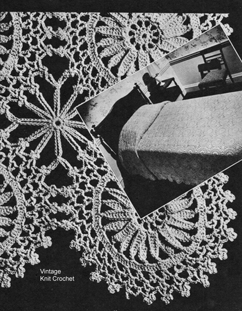 Round Crochet Medallion Pattern, Bedspreads, Vintage 1940s