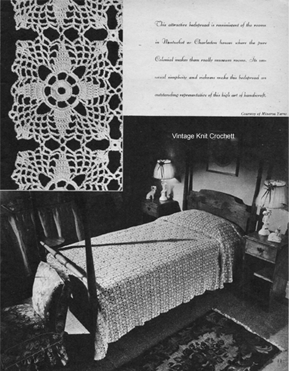 Crochet Bedspread Pattern, Four Point Star Square