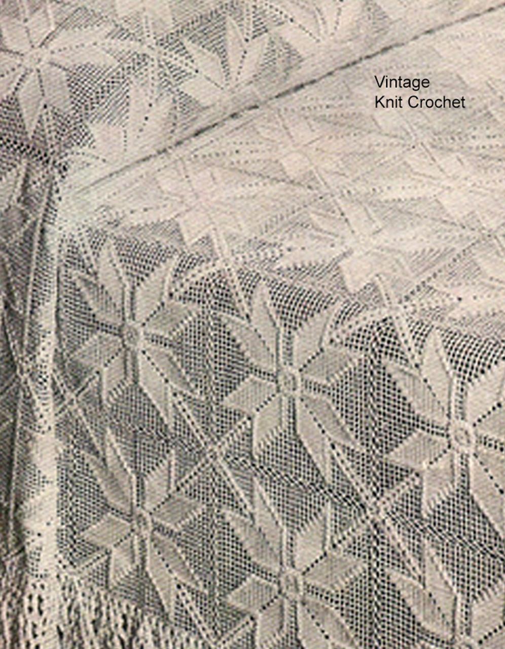 Crochet Bedspread Pattern, Square Blocks, All American