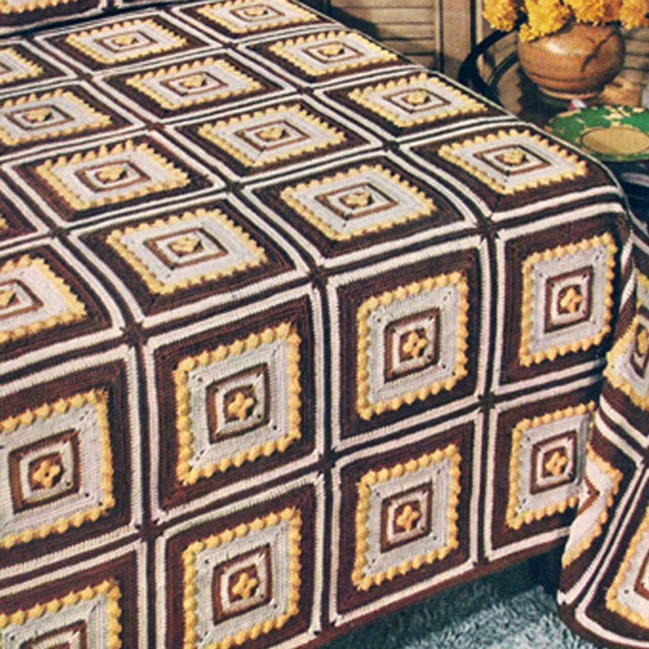 Vintage Granny Square Crochet Bedspread Pattern