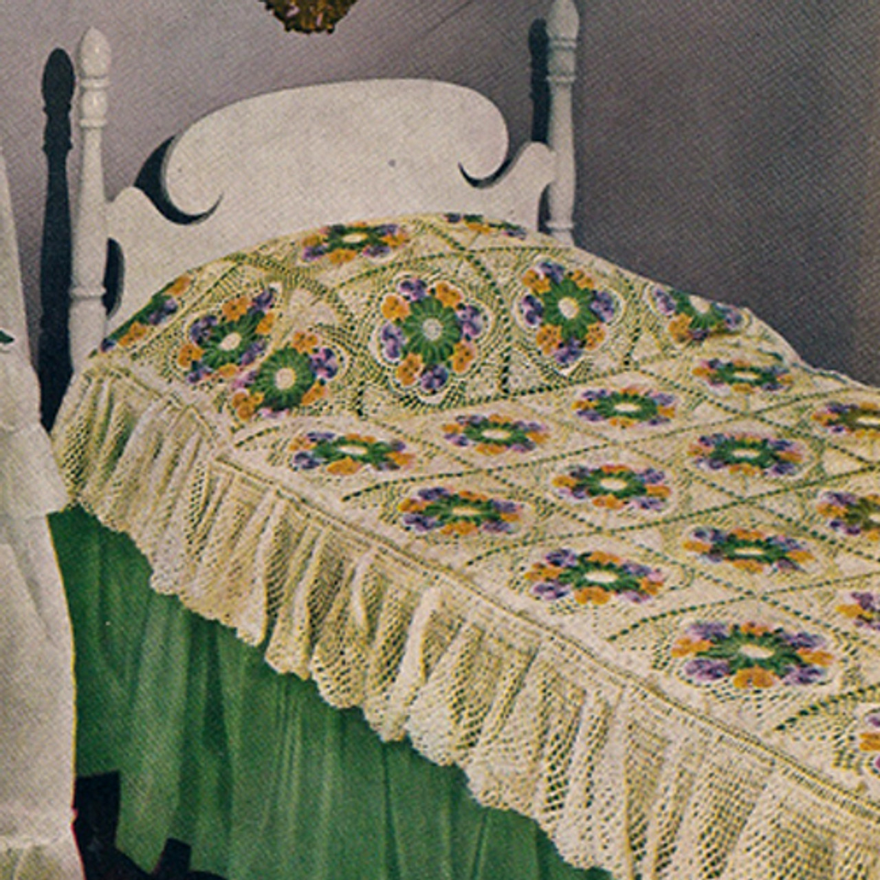 Pansy Medallion Crochet Bedspread Pattern