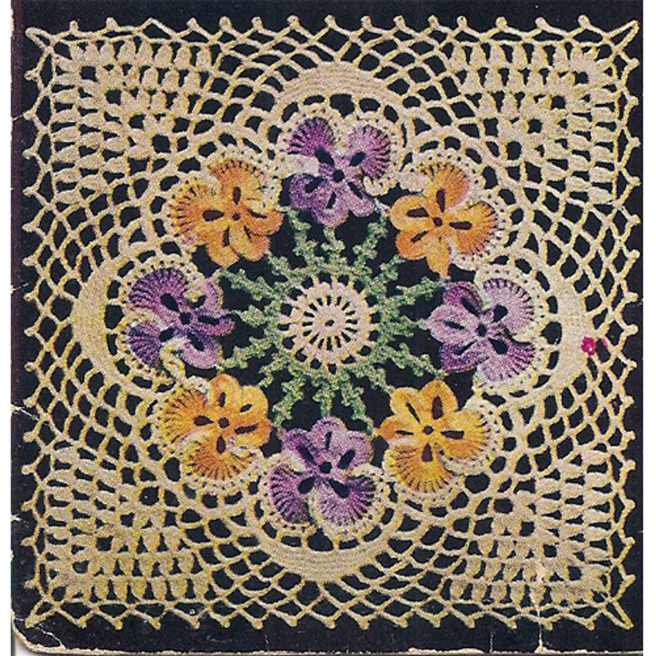 Crochet Pansy Medallion for Bedspreads