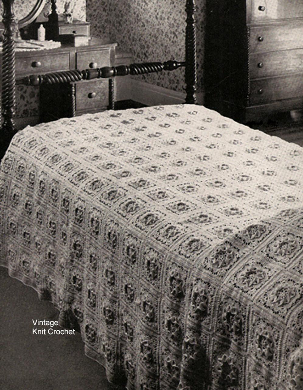 Vintage Crochet PATTERN MOTIF BLOCK Bedspread Marguerit