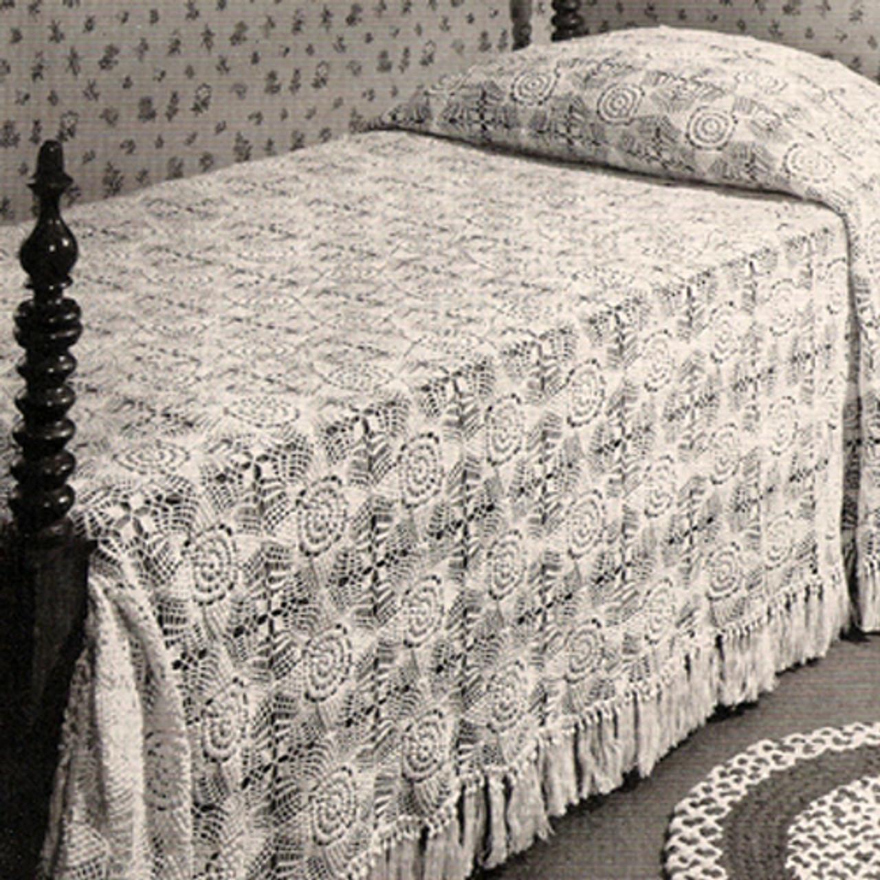 Flower Motif Crochet Bedspread Pattern, Snow White