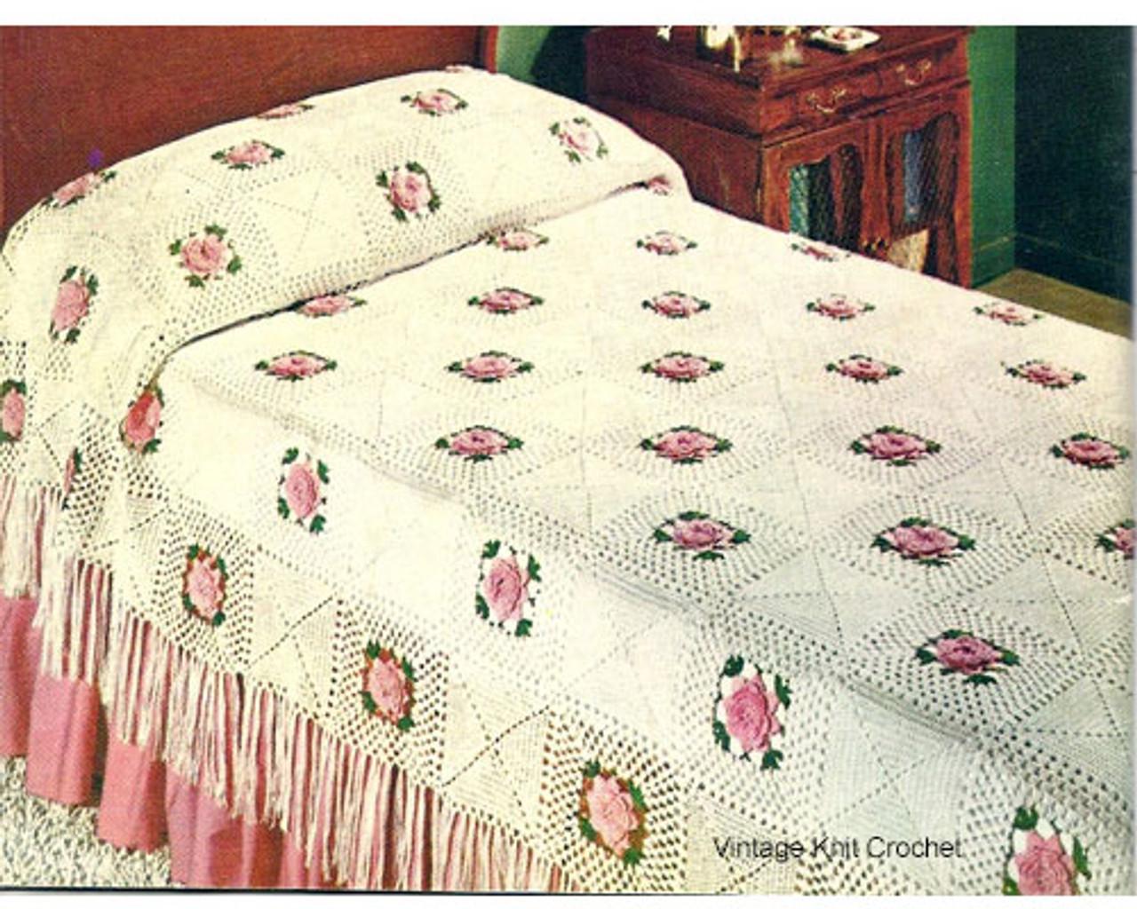 Crochet Bedspread Pattern, Rose Squares