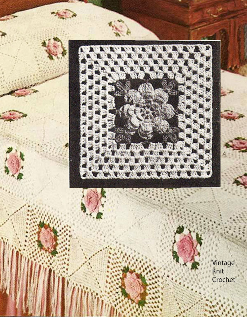 Crochet Rose Bedspread Pattern, Square Blocks