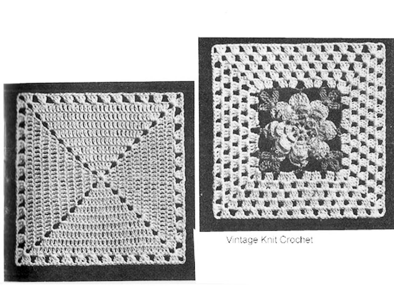 Crochet Rose Square Illustration for bedspread