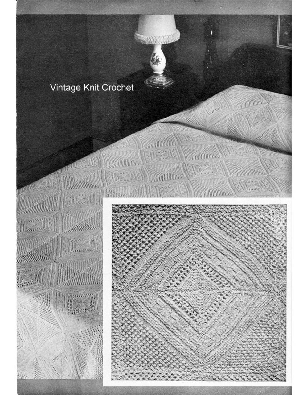 Knitted Bedspread Pattern, Vintage Diamond Motif