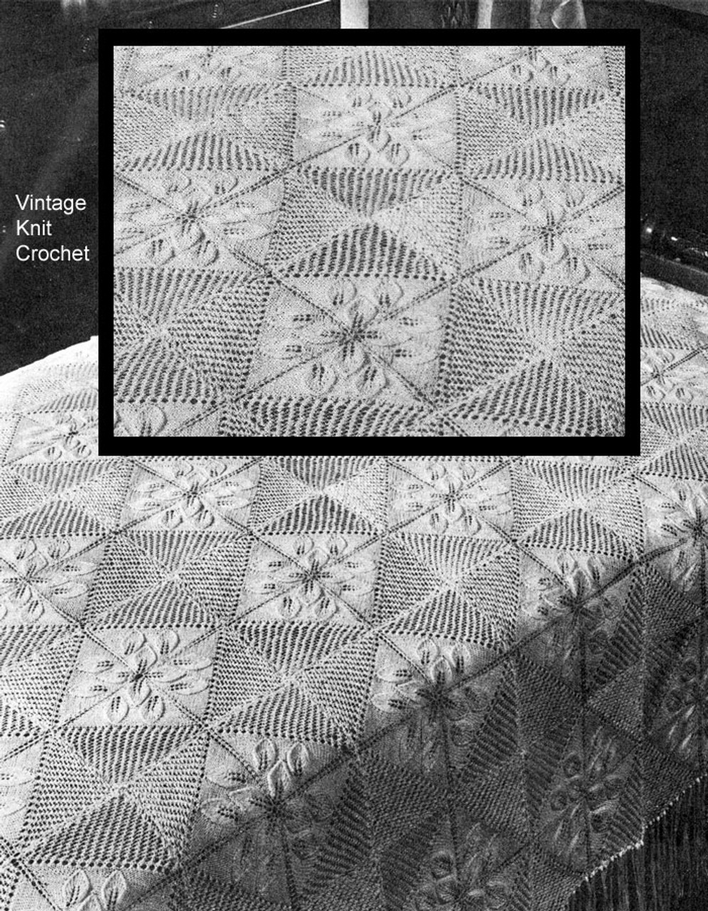 Knitted Bedspread Pattern of Squares
