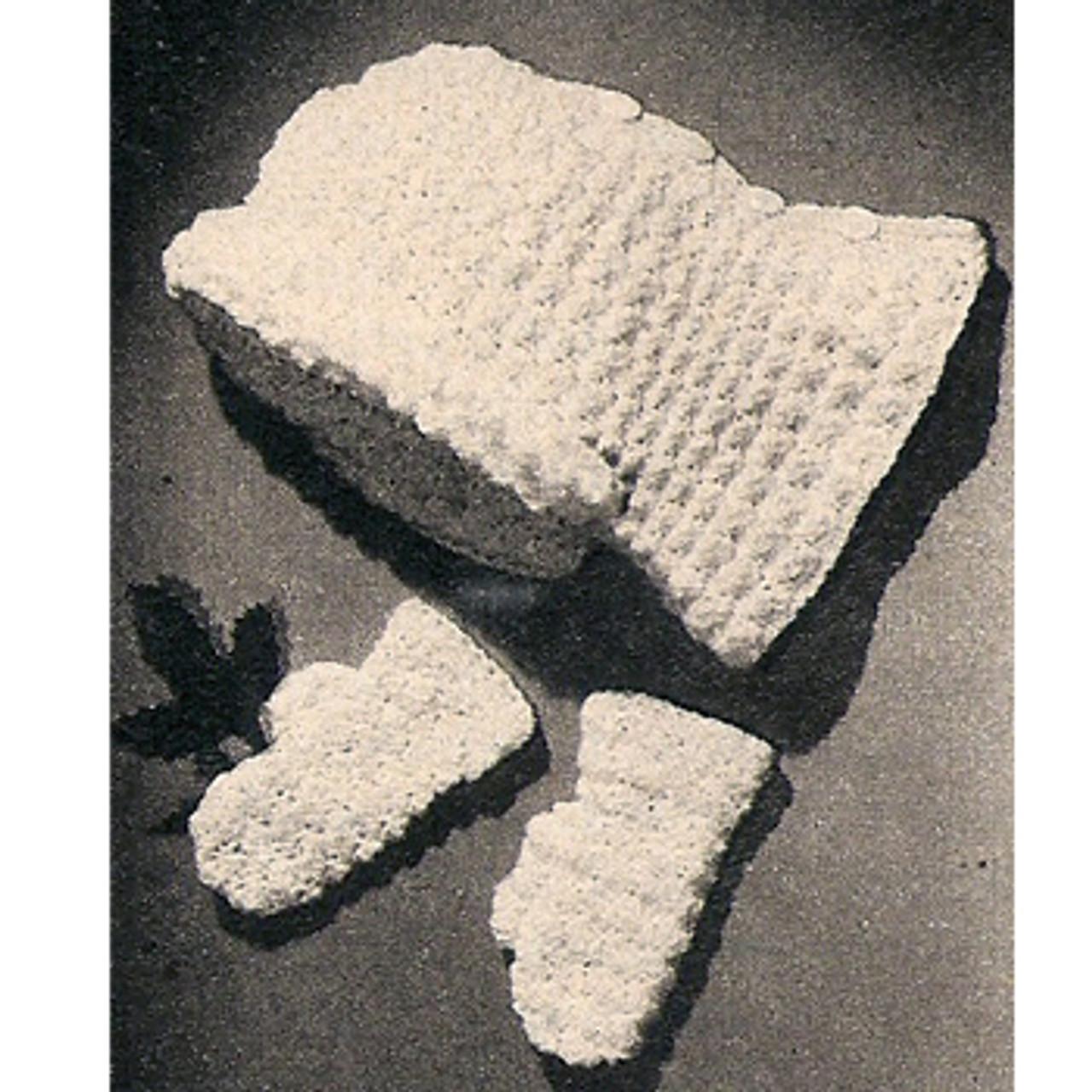 Vintage Baby Crochet Hood Mittens Pattern