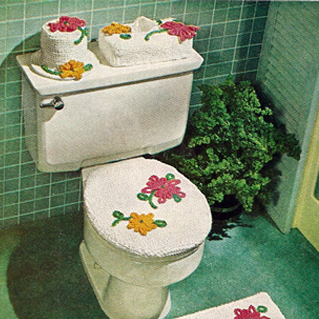 Knitted Flower Toilet Tank Cover