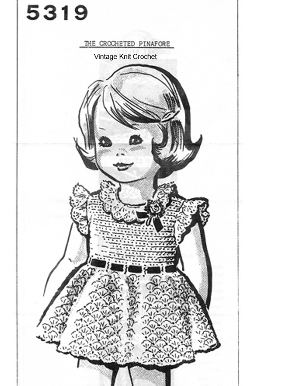 Toddler Pinafore Crocheted Dress Pattern, Mail Order 5319