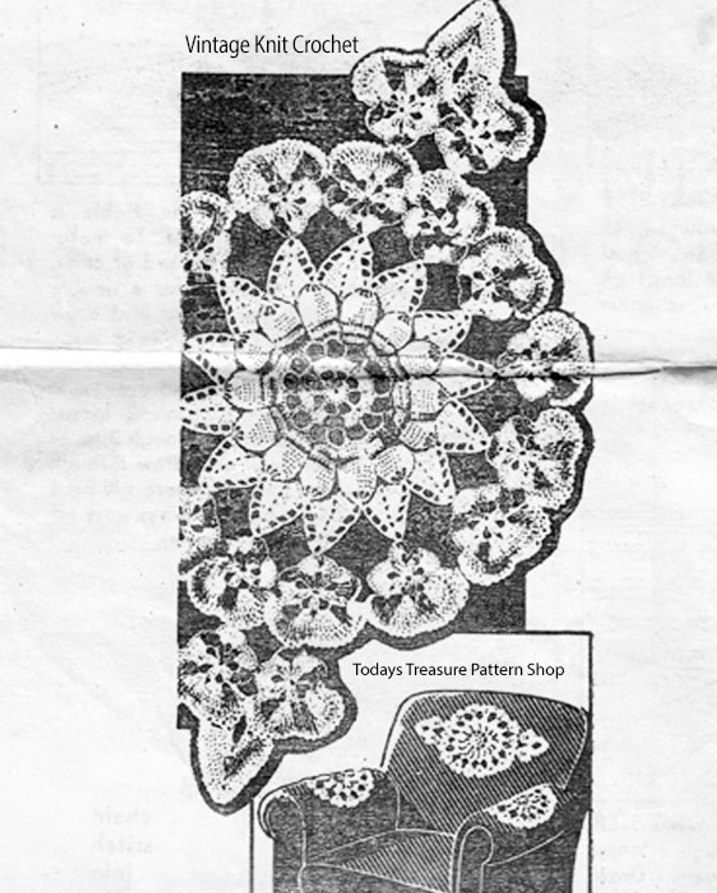 Vintage Pansy bordered chair set pattern