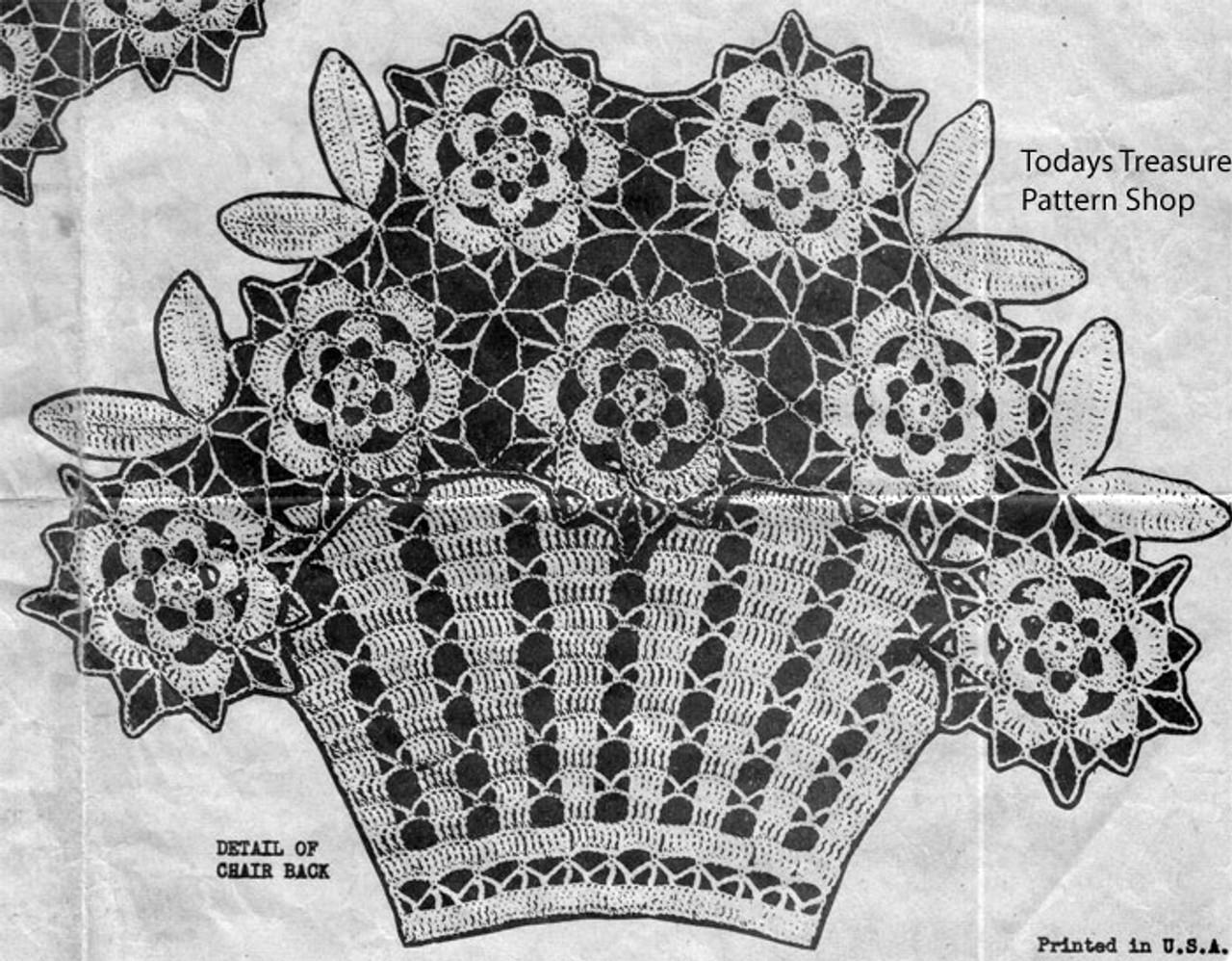 Flower Basket Crochet Doily Medallion Pattern Alice Brooks Design 6429
