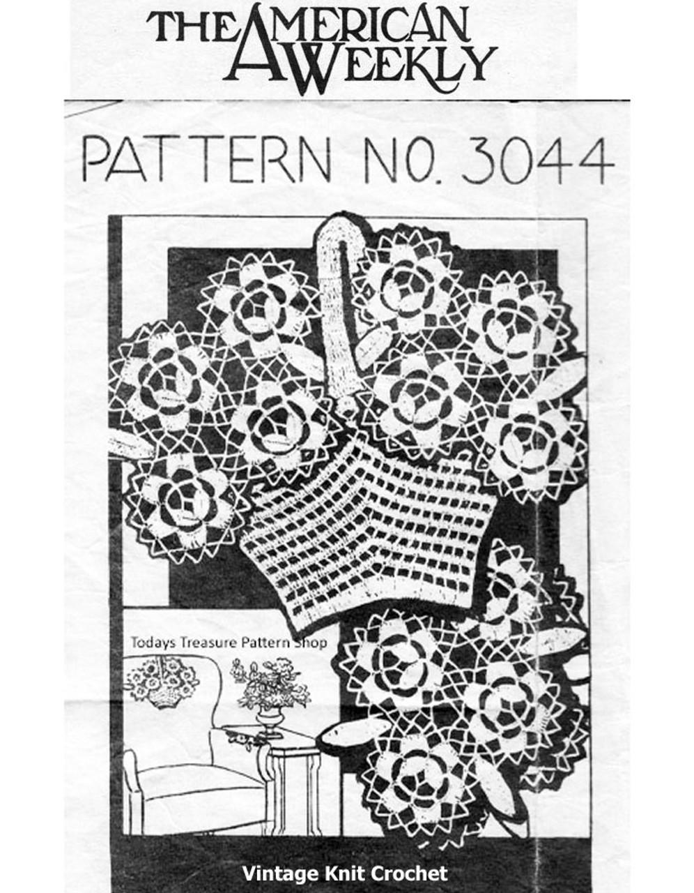 Crochet Medallion Basket Chair Set Pattern Design 3044