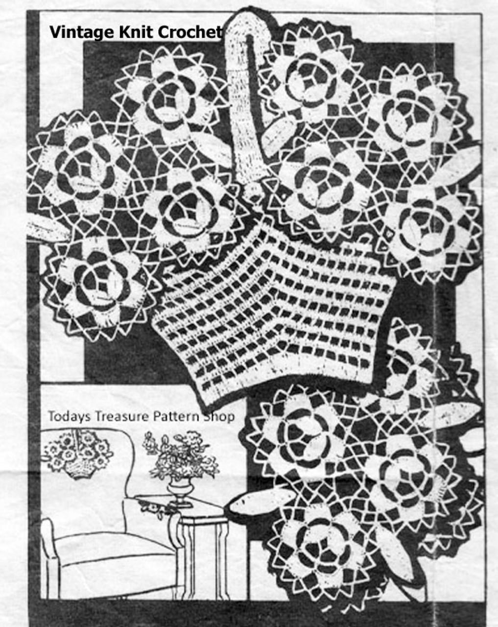Vintage Flower Basket Crochet Chair Set Pattern, American Weekly 3044