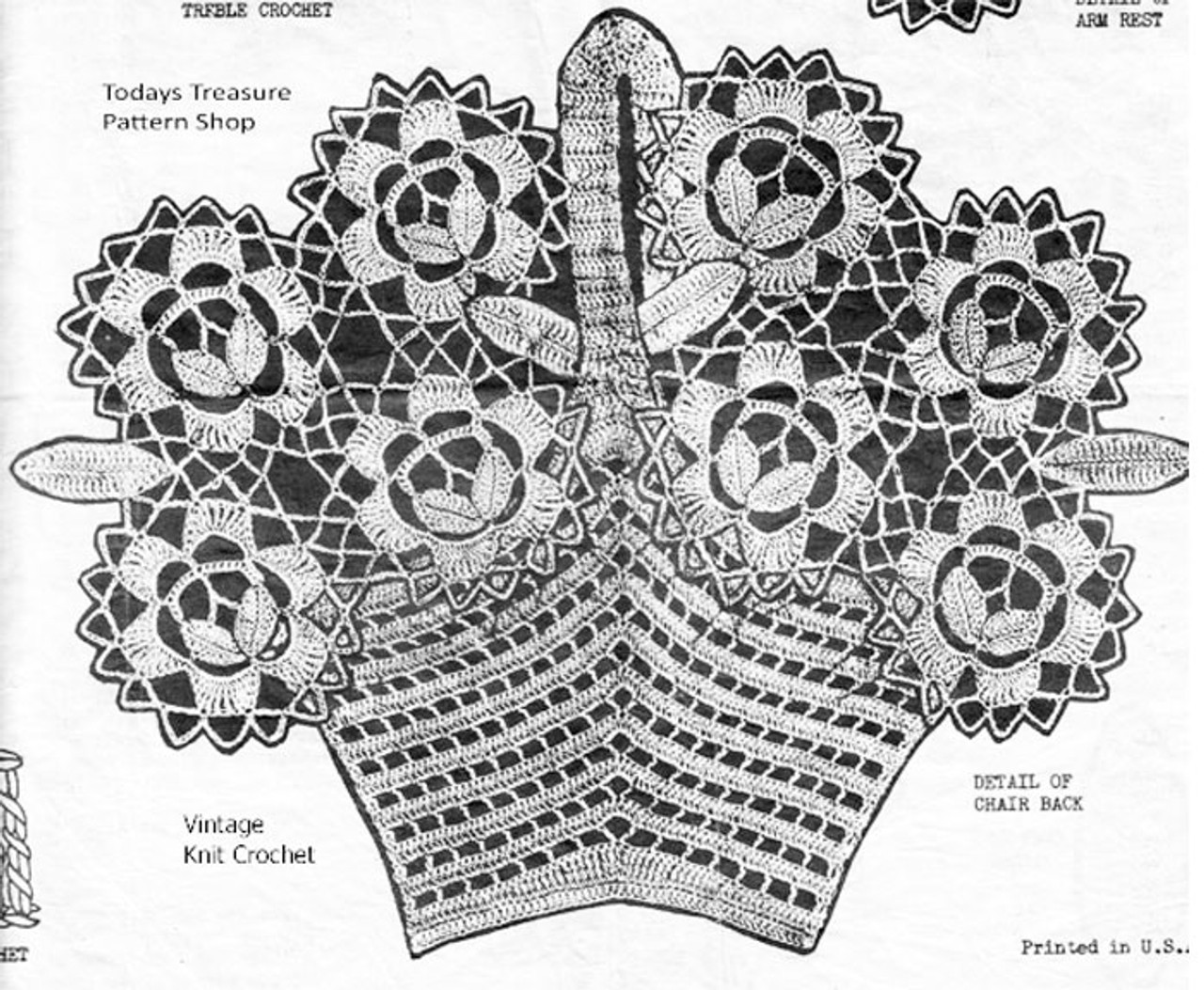 Crochet Flower Medallion Basket Pattern Illustration, American Weekly 3044