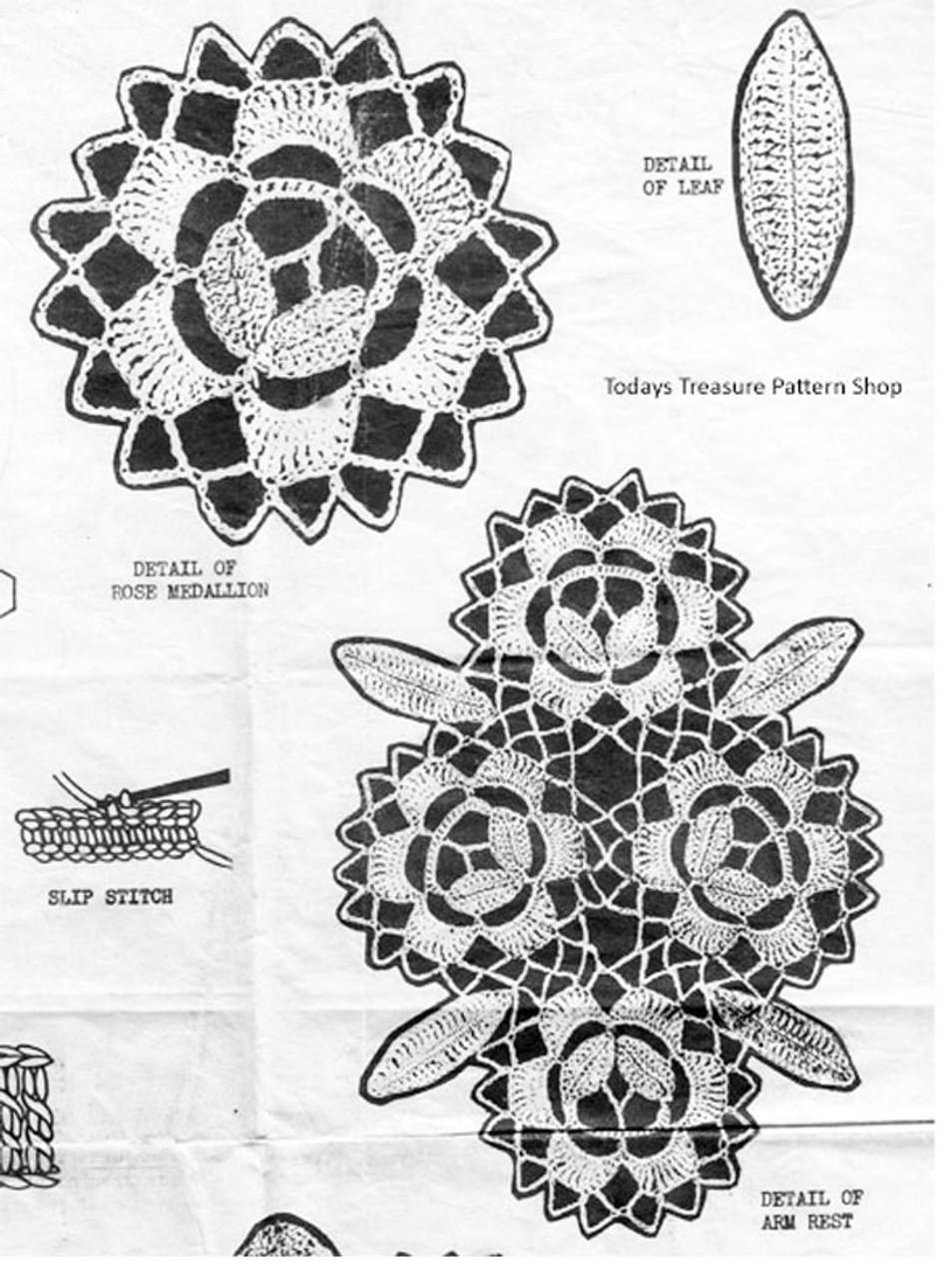 Crochet Flower Medallion Scarf Illustration No 3044.