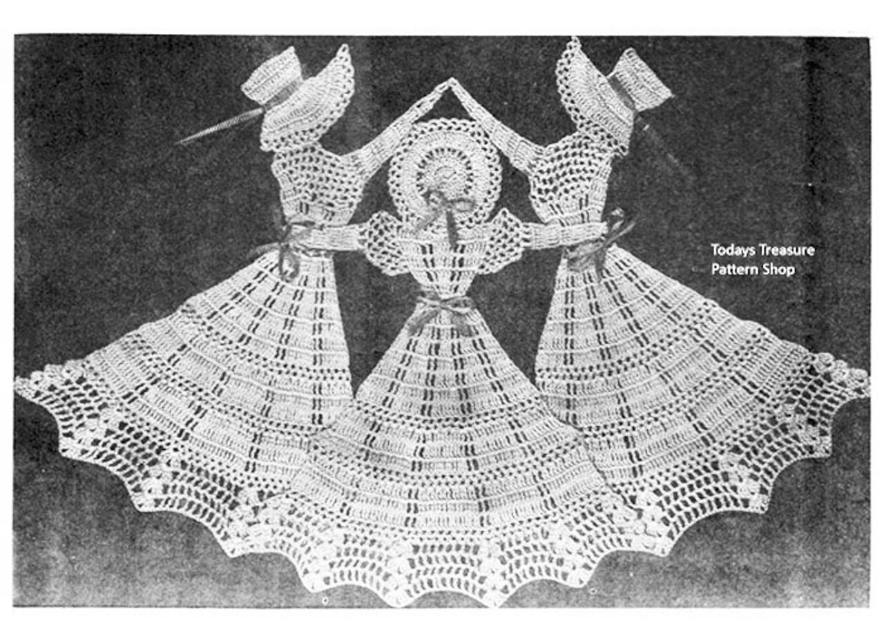 Dancing Girls Crochet Pattern Illustration, Design E-1061