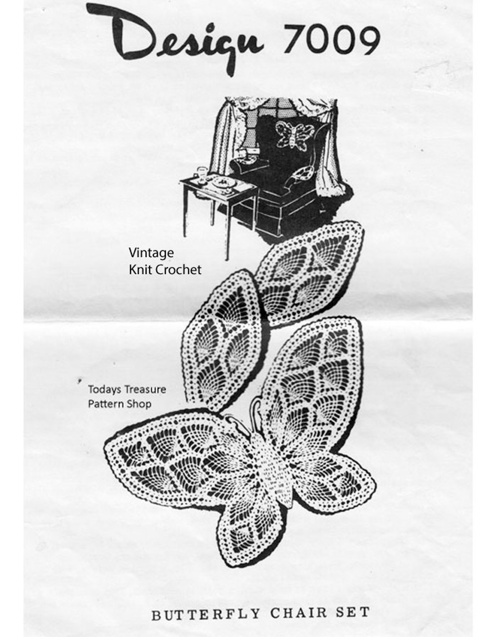 Crochet Butterfly Chair Set Pattern, Alice Brooks 7009