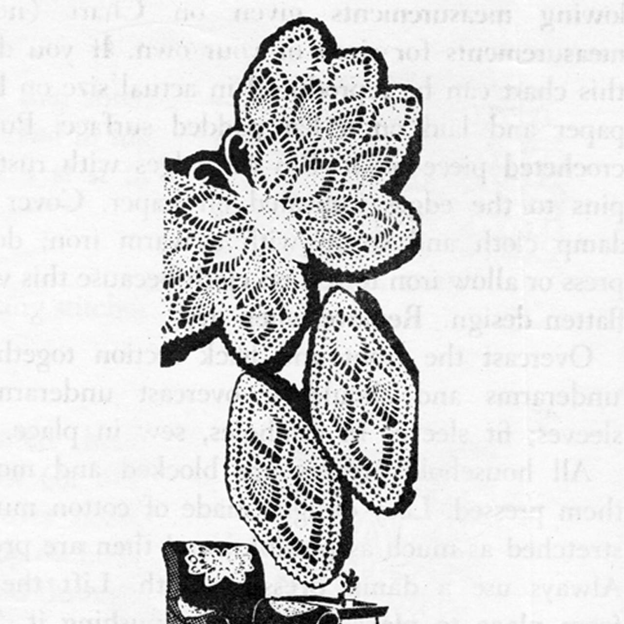 Pineapple Butterfly Crochet Doily Pattern Set