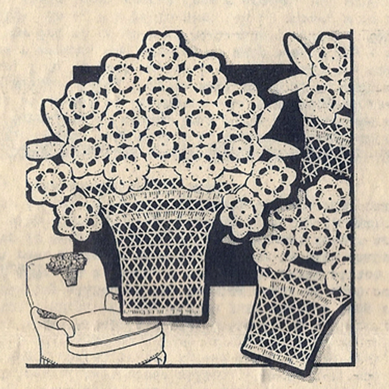 Vintage Crochet Flower Basket with Daises Pattern Set