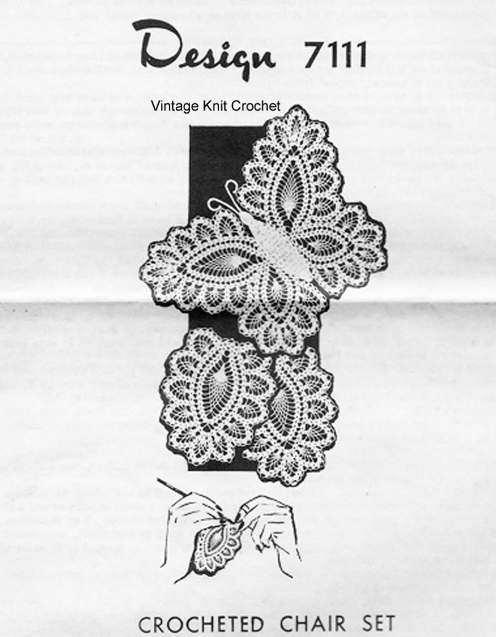 Butterfly Crochet Chair Set Pattern Design 7111