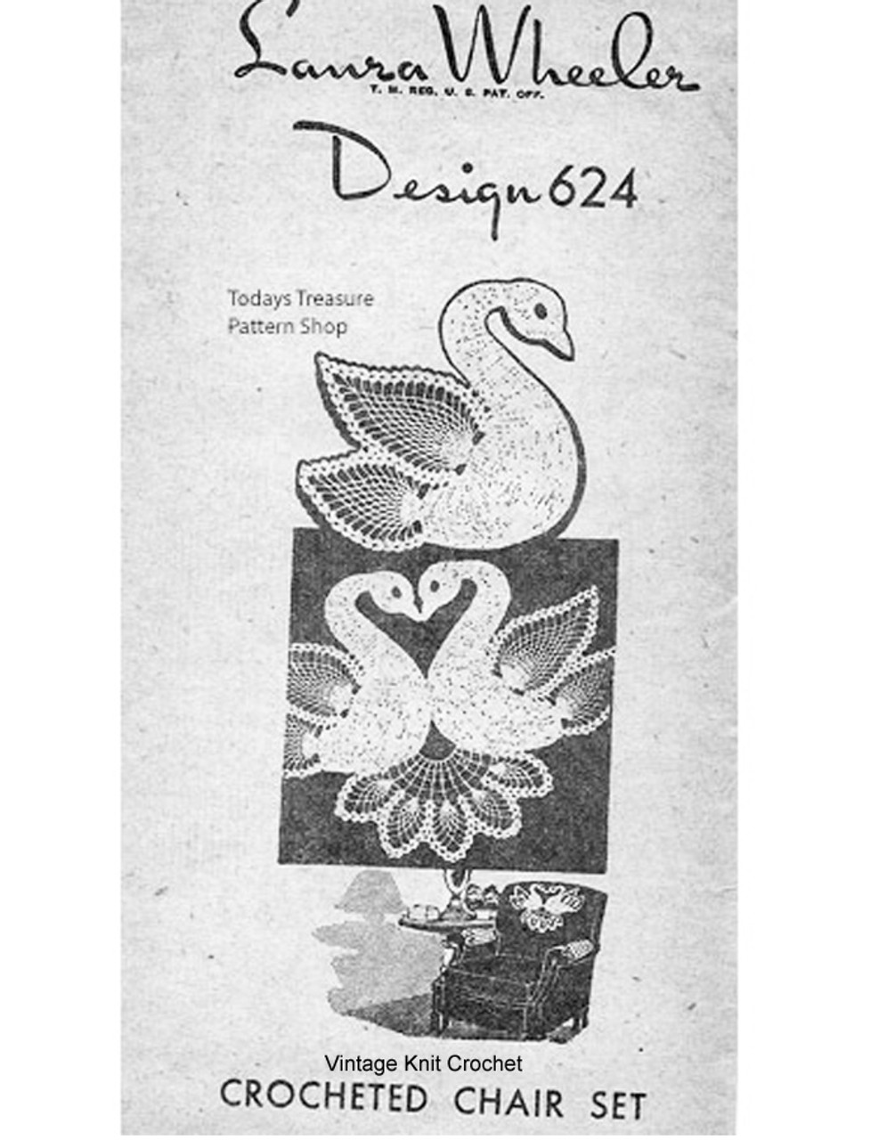 Crochet Swan Chair Doily Pattern Set, Mail Order 624