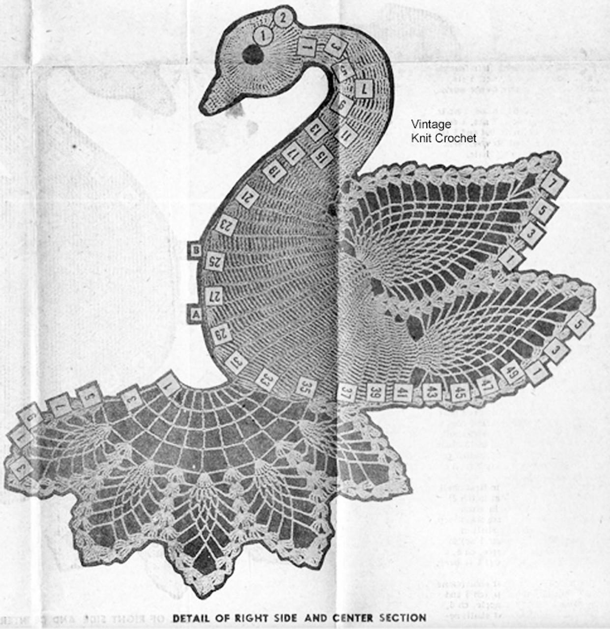 Crochet Swan Pattern Stitch Illustration, Chair Set, Mail Order 624