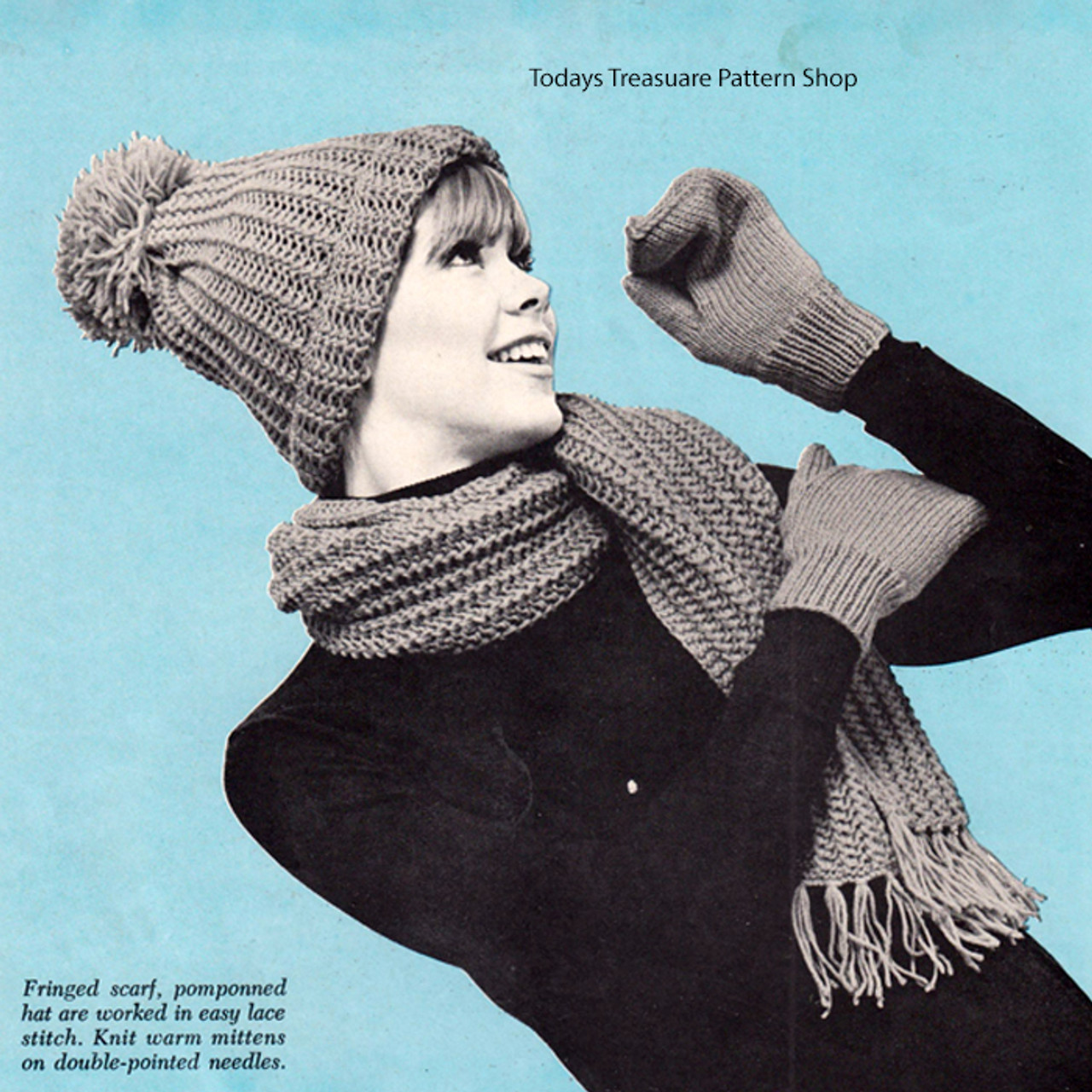 Knitted Hat Scarf Gloves Pattern, Vintage 1960s