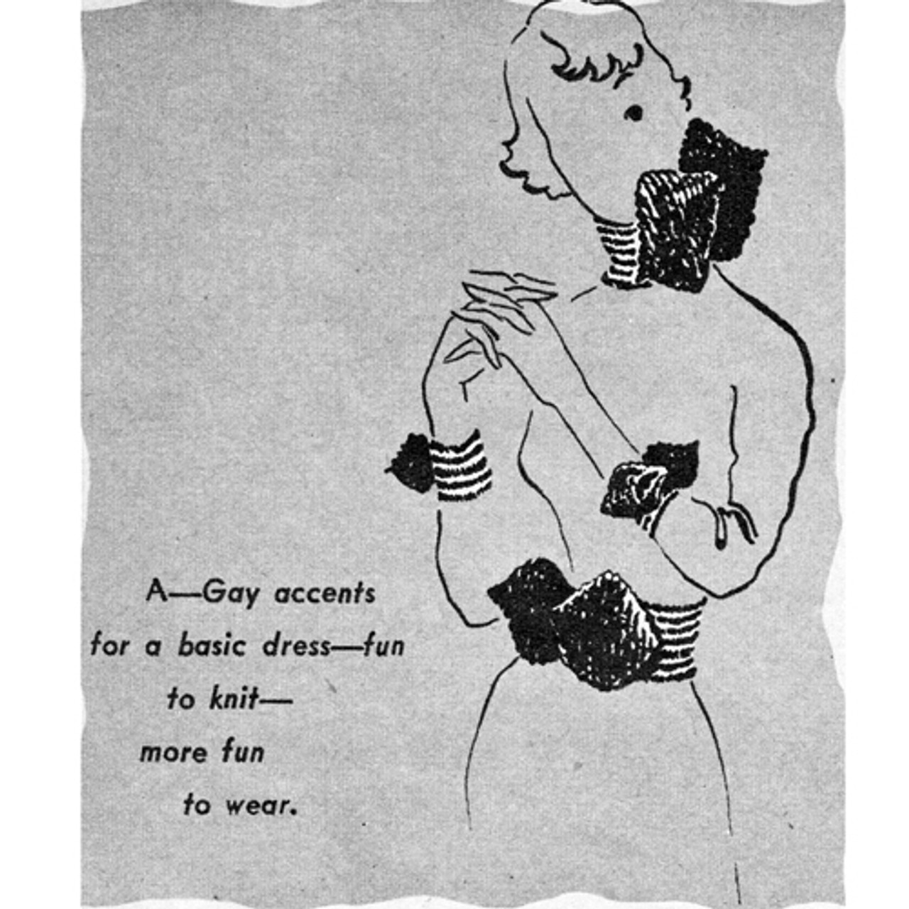 Vintage Knitting Pattern for Cummerbund with scarf and cuffs