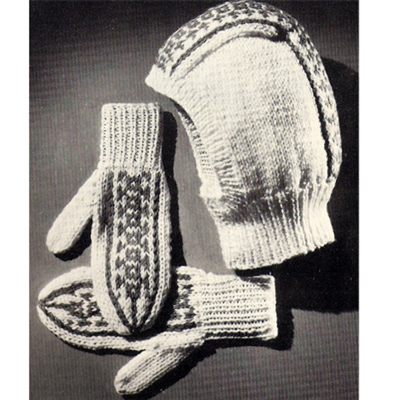 Fair Isle Knitted Helmet and Mittens Pattern