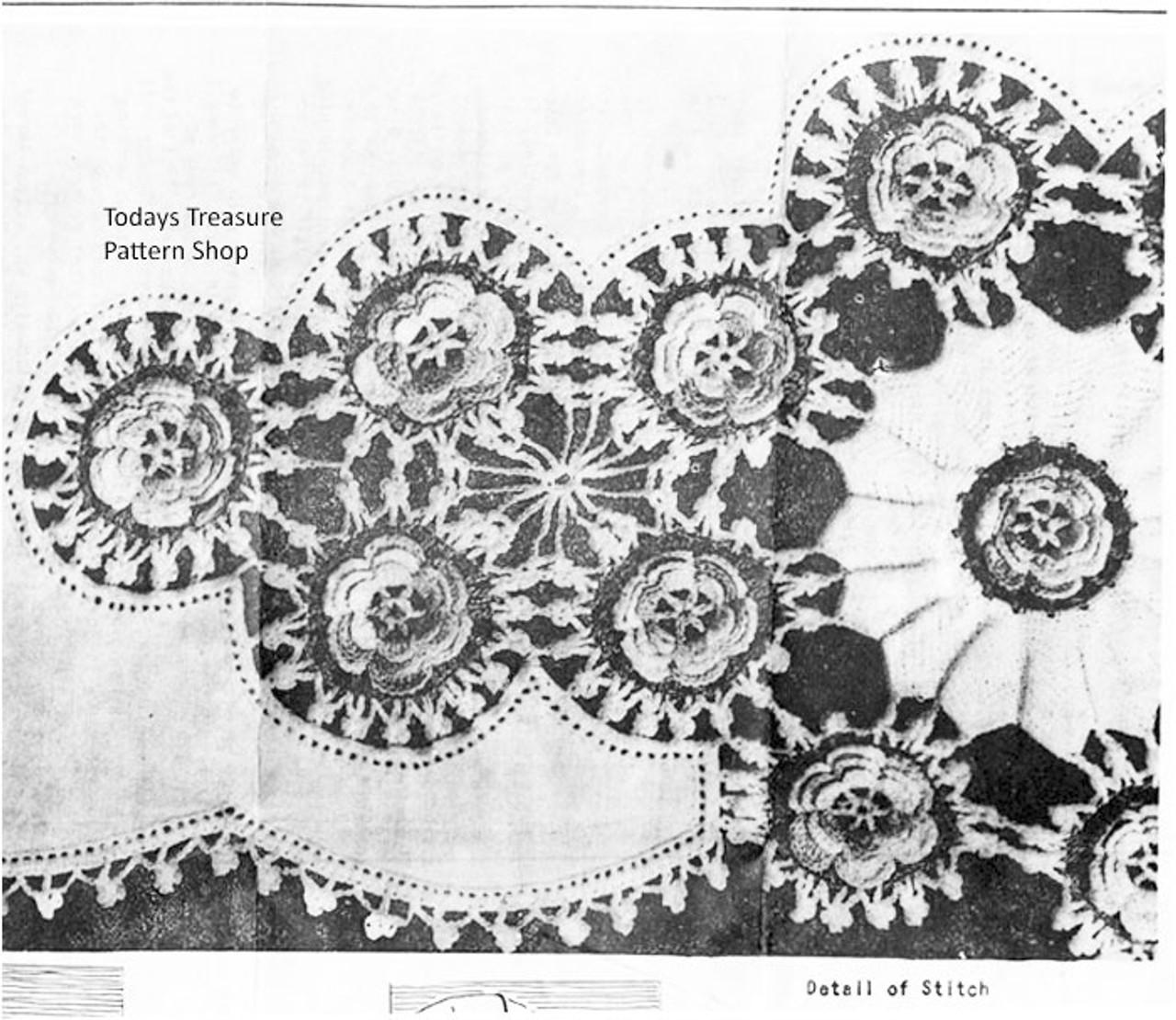 Crocheted Flower Linen Insert, Anne Cabot 5406