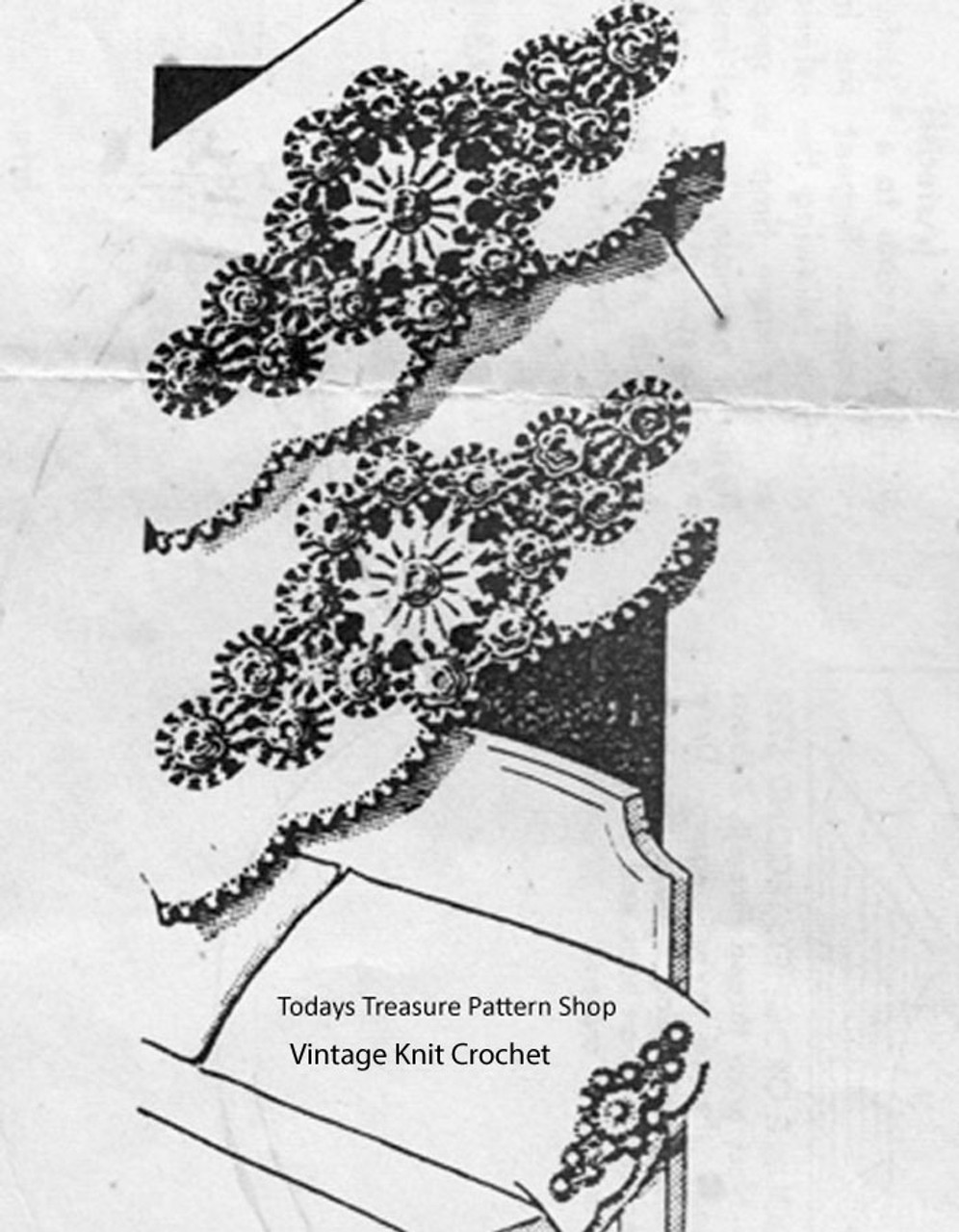 Vintage Flower Pillowcase Crochet Insertion edging pattern No 5406