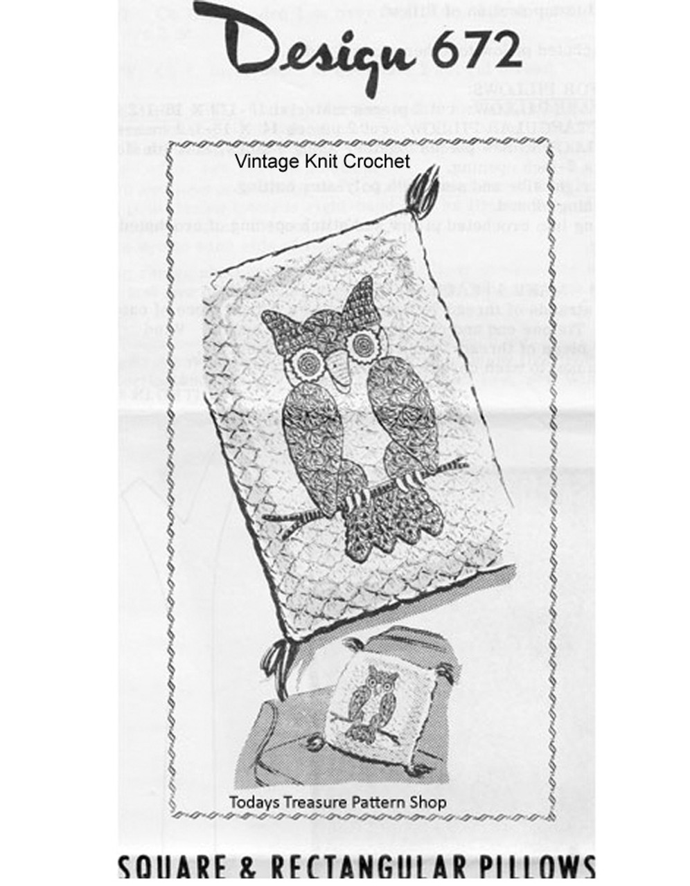 Crochet Owl Pattern, Square Rectangle Pillow, Mail Order 672