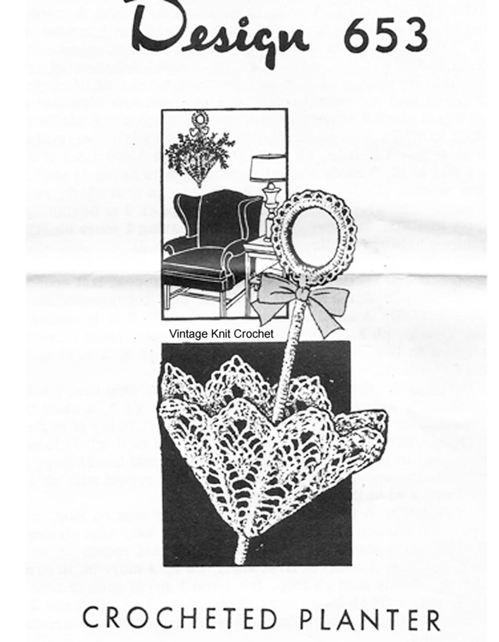 Crochet Basket Pattern, Parasol in Pineapples, Mail Order 653