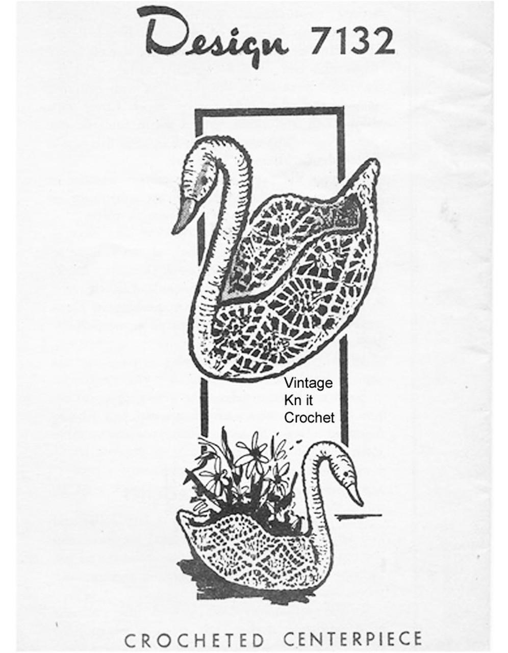 Crochet Swan Centerpiece Pattern, Alice Brooks 7132