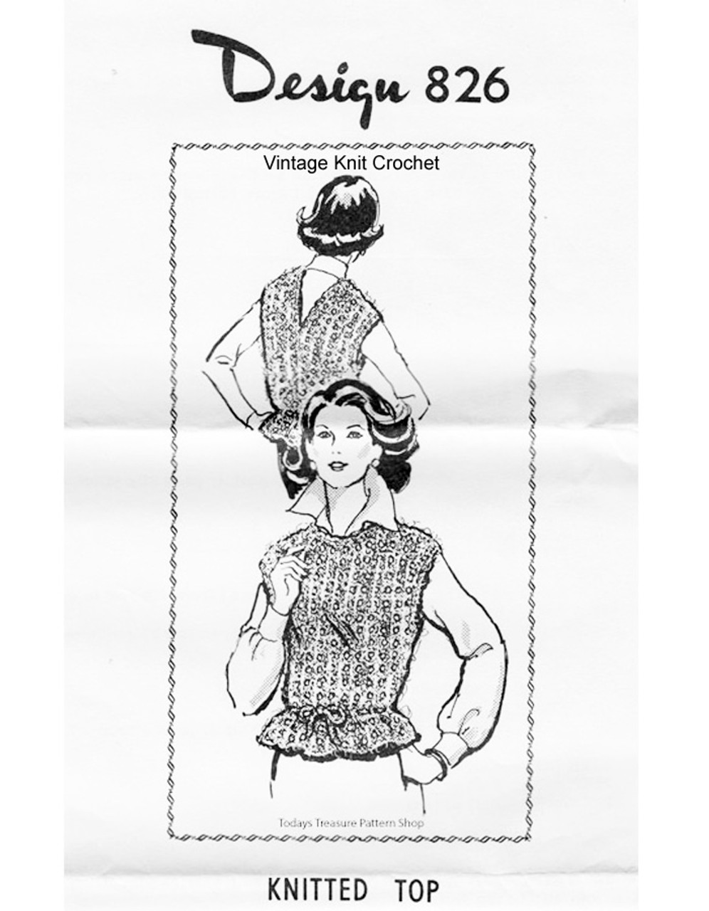 Knitted sleeveless Top pattern, Mohair, Mail Order 826