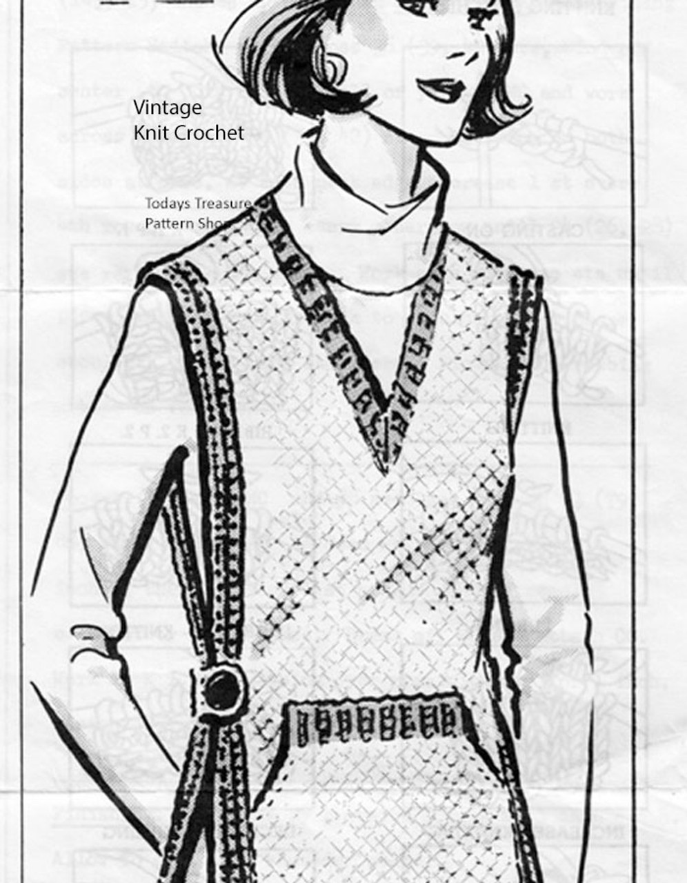 Crocheted Overblouse Pattern, Tabard, Mail Order 2649