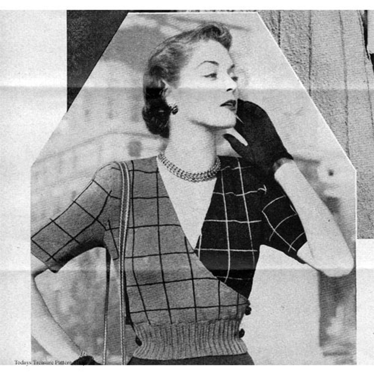Knitting pattern vintage wrap around blouse