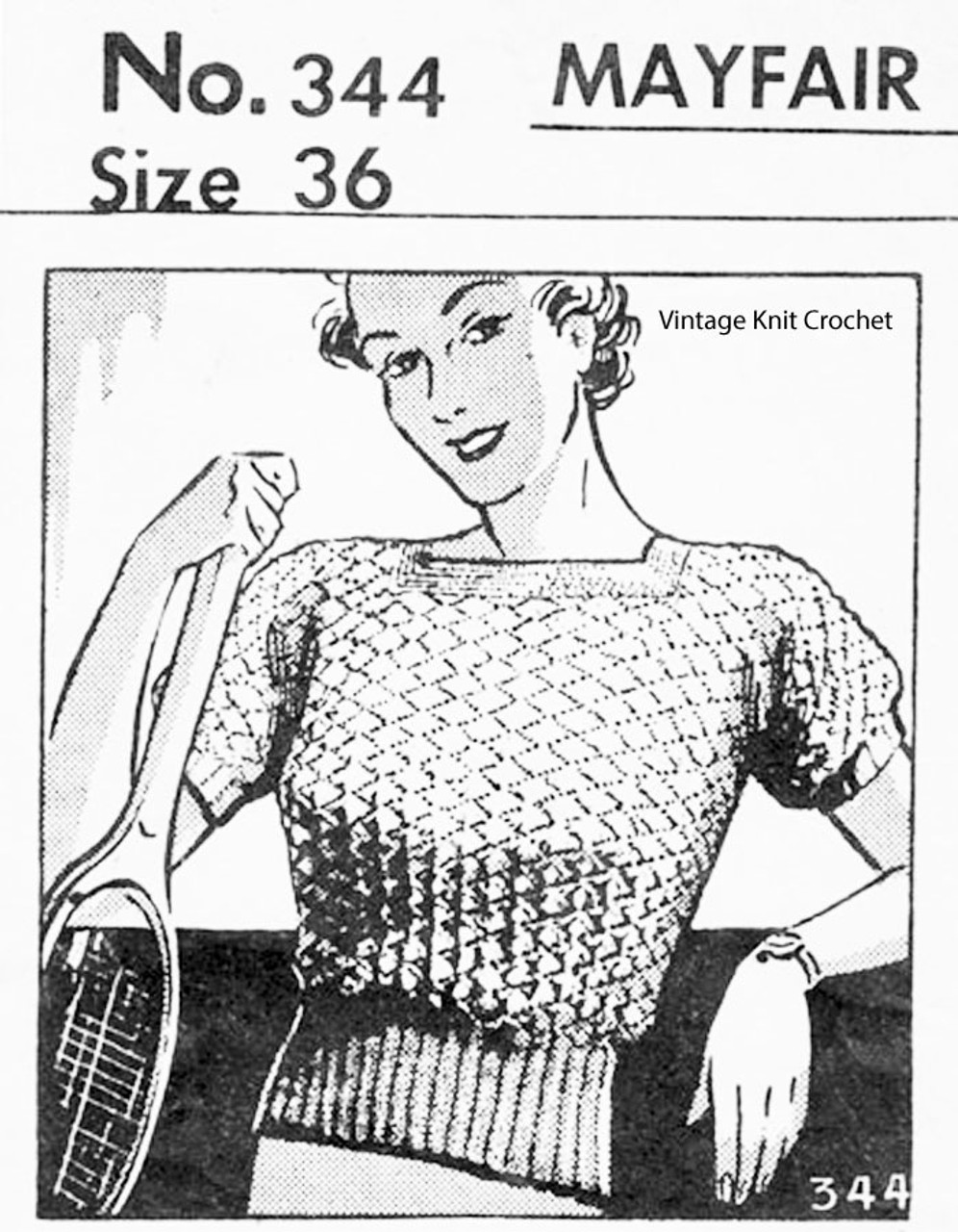 Knitted Short Sleeve Blouse Pattern, Vintage 1936