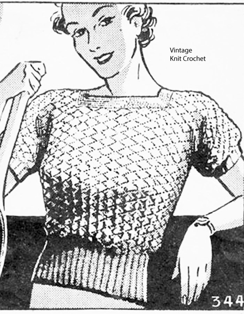 Design 344, Knitted Lace Blouse Pattern, Mayfair Needle Arts 344