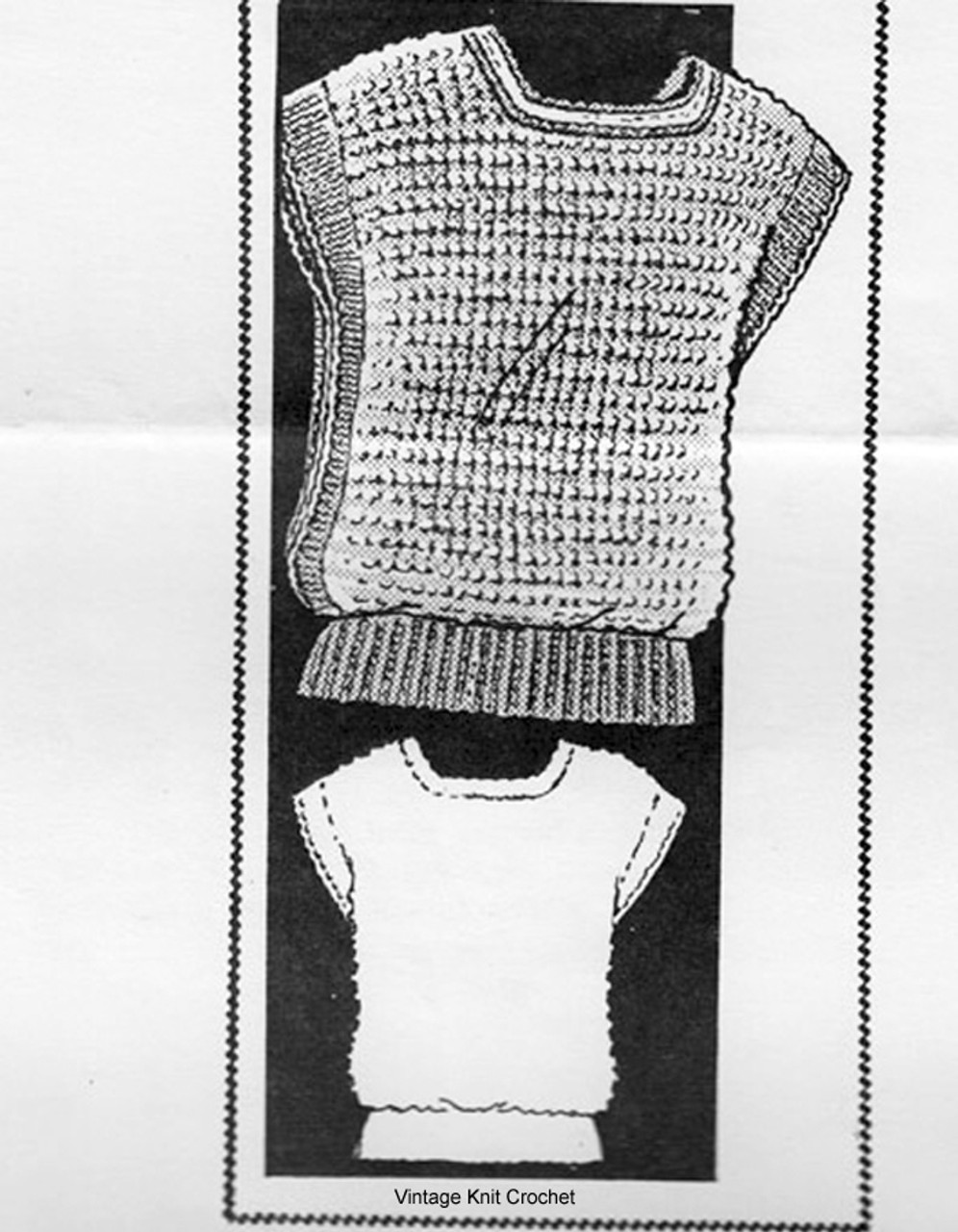 Mail Order Knitted Top Pattern, Contrast Mohair Bands, Design 614