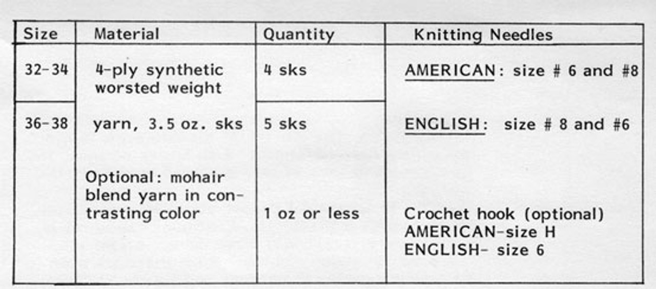 Knitted Tabbard Material Requirements