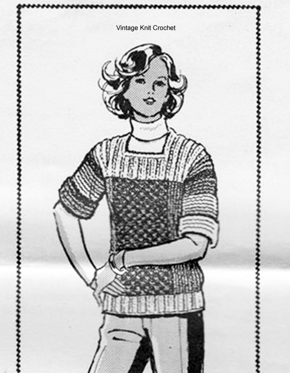 Mail Order Knitted Top Pattern in Color Blocks, Laura Wheeler 531