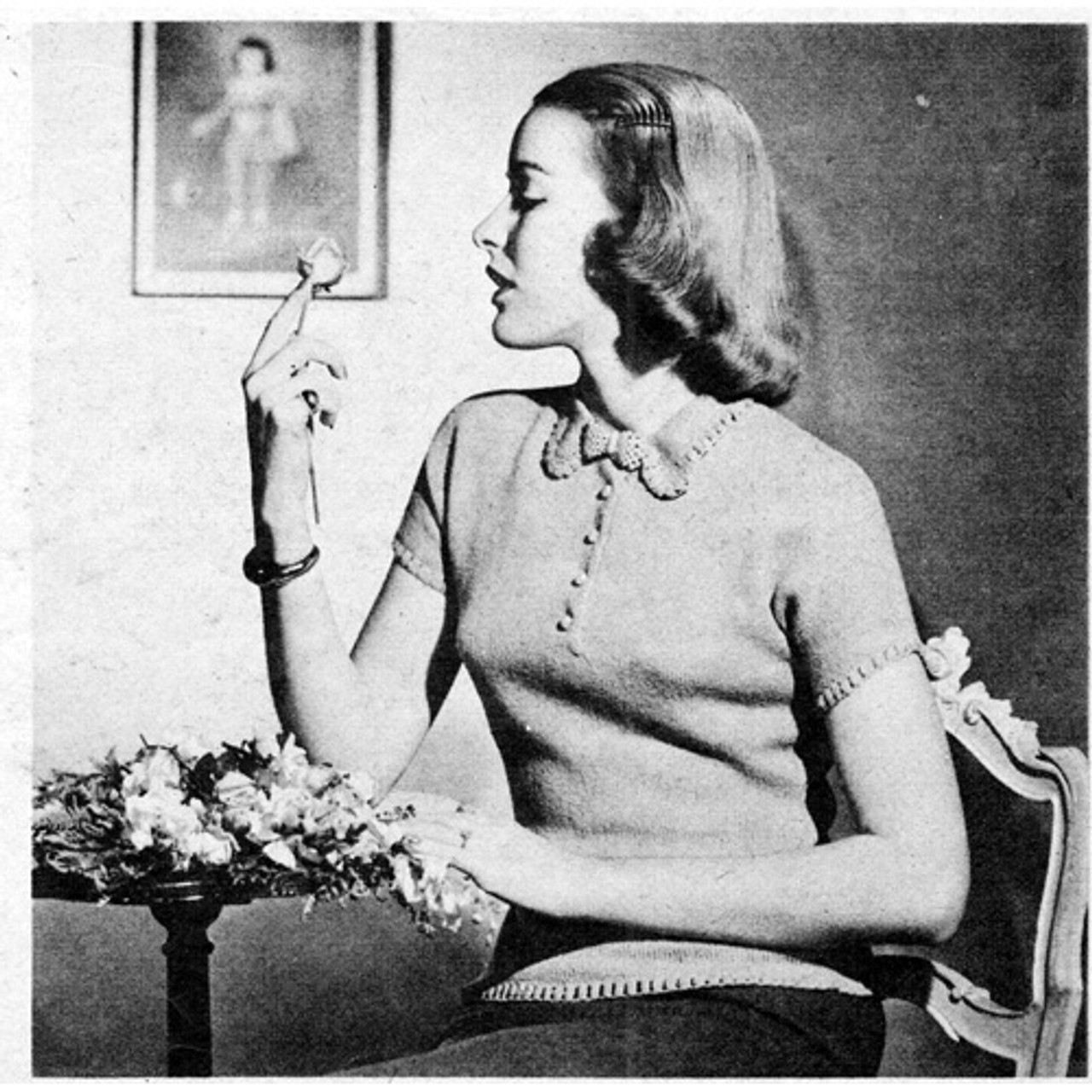 Vintage Nubby Blouse Knitting Pattern
