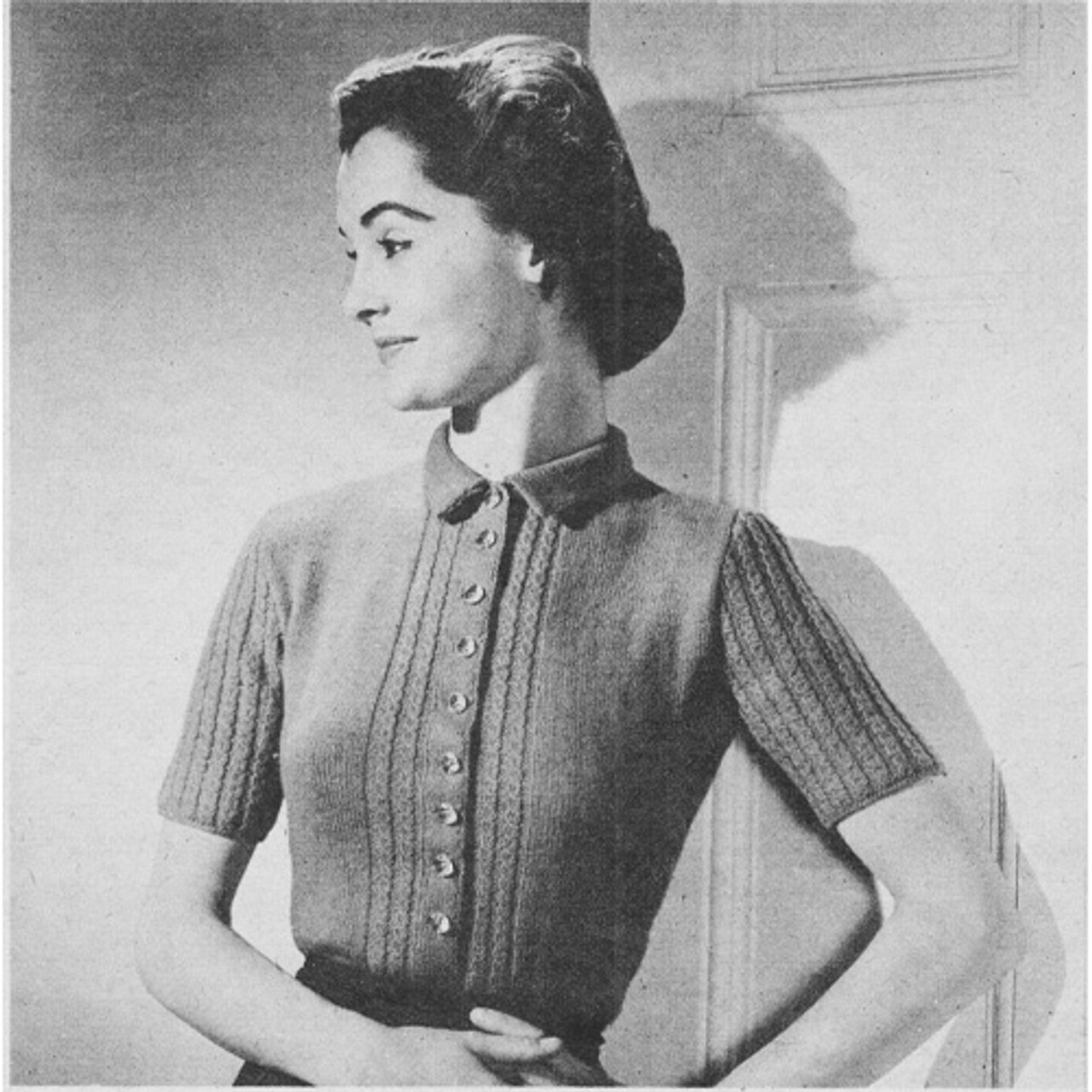 Vintage Knitting pattern Buttoned Blouse
