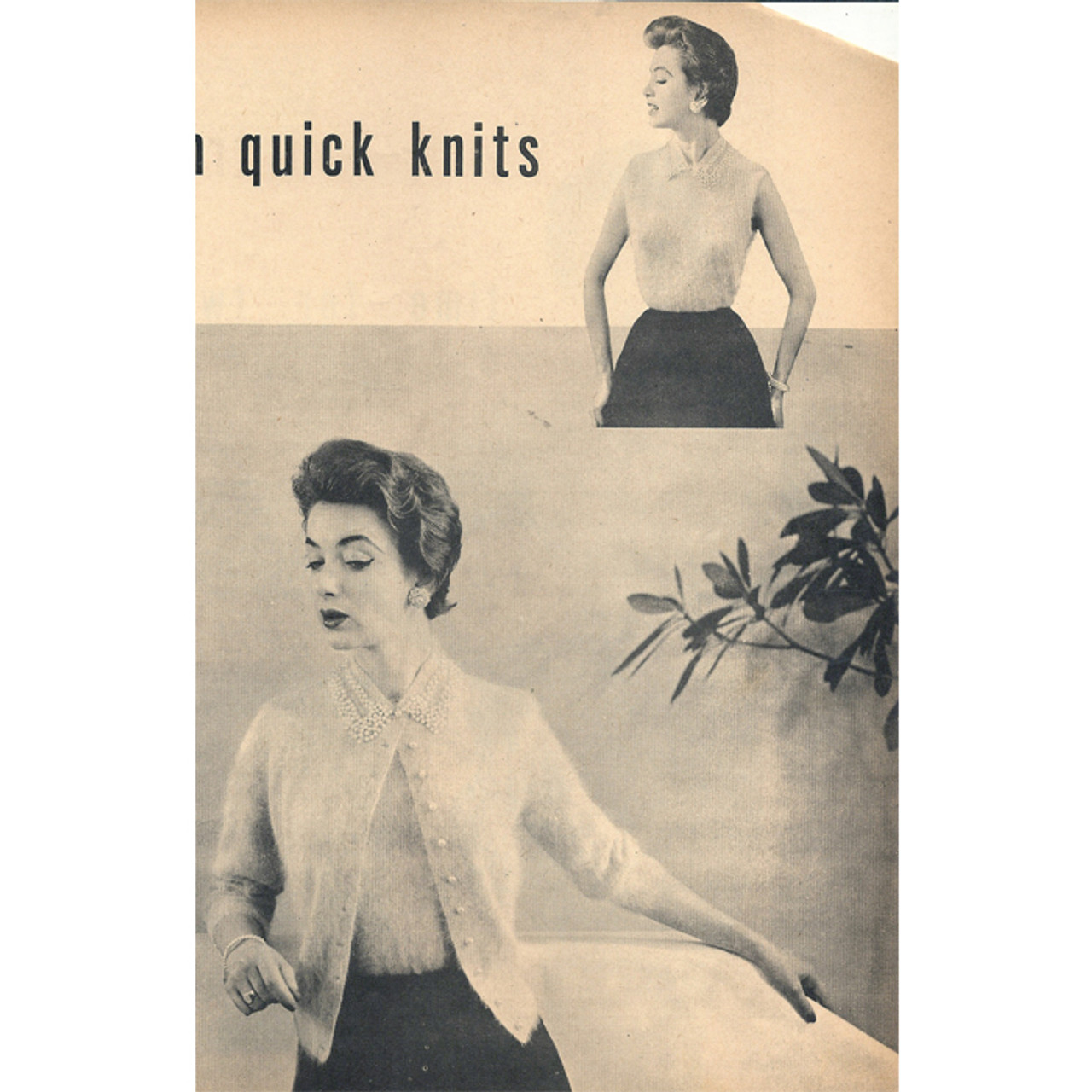 Vintage Knitted Shell and Cardigan Pattern Set