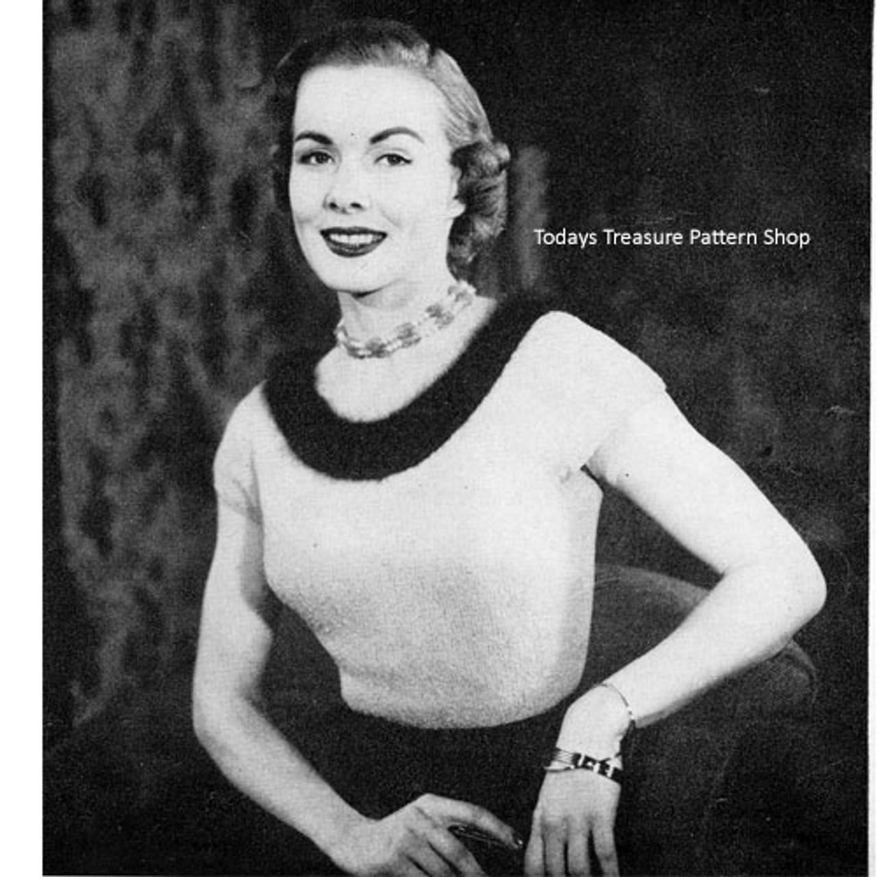 Vintage Blouse Knitting Pattern with Trimmed Neckline
