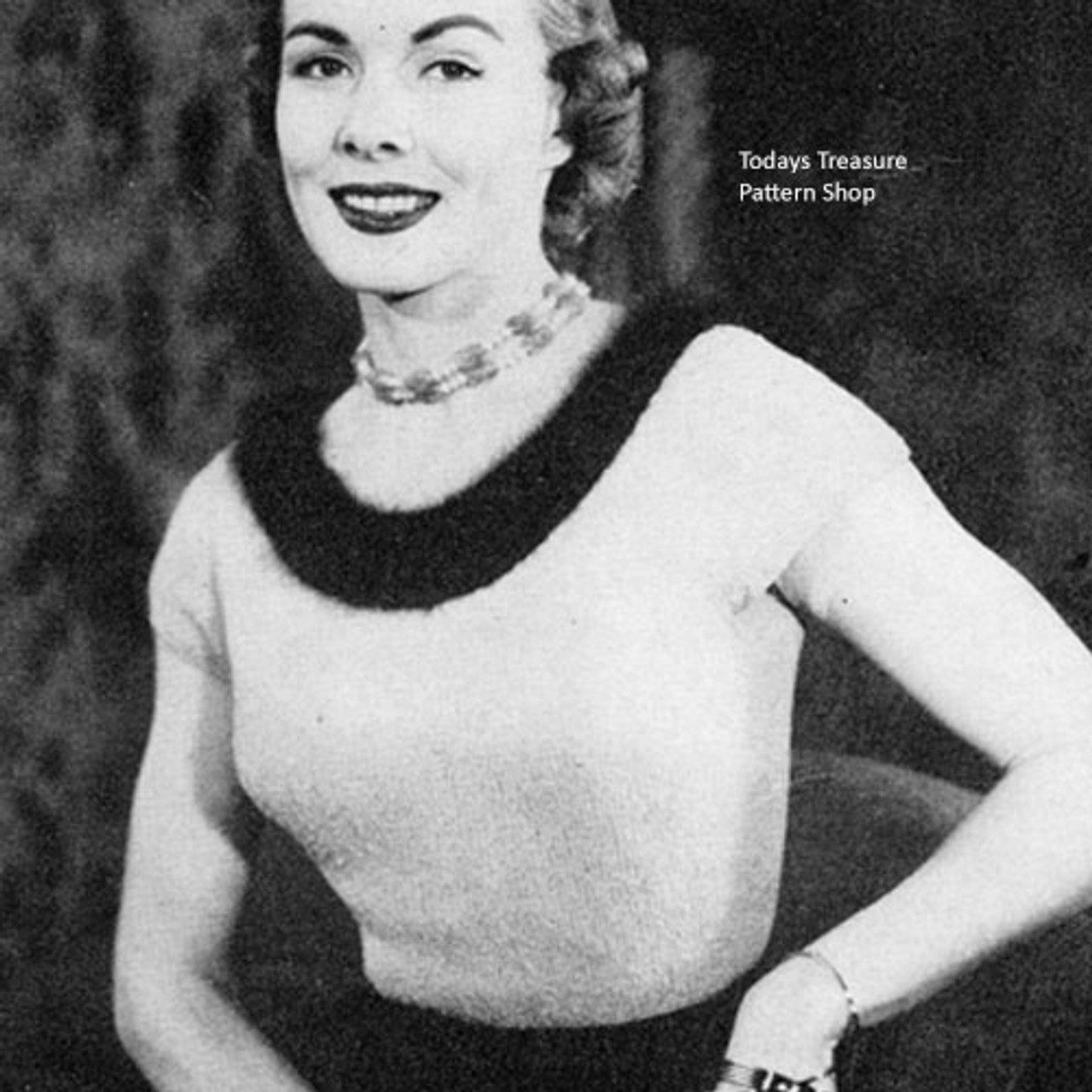 Angora Trimmed Blouse Knitting pattern